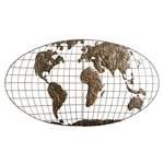 Iron World Map 3D Gold Brushed Finish Metal Oval Globe 46''W x 25.5''H Wall Art [GA1152R-FS-SENT]