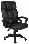 Top Grain Italian Leather Executive Chair with Casters - Black [B8701-FS-BOSS]