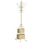 Graceful Ivory Textured Finish Durable Metal Multi Hook 72.5''H Hall Tree with 2 Rattan Storage Baskets [HP3383R-FS-SENT]
