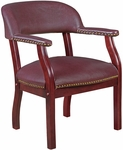 Ivy League 31''H Traditional Captains Chair - Burgundy Vinyl [9004BY-FS-REG]