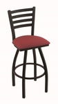 Jackie 25'' Black Wrinkle Finish Counter Height Swivel Stool with Gr 1 Allante Wine Vinyl Seat [41025BWALWINE-FS-HOB]