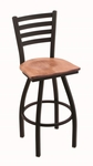 Jackie 25'' Black Wrinkle Finish Counter Height Swivel Stool with Medium Maple Wood Seat [41025BWMEDMPL-FS-HOB]