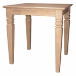Java Traditional Solid Parawood 24''W X 25''H End Table - Unfinished [OT-60E-FS-WHT]