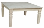 Java Traditional Solid Parawood 36''W X 18''H Square Coffee Table - Unfinished [OT-60SC-FS-WHT]