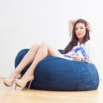 3 ft Classic Saxx Bean Bag - Navy Microsuede [10836117-FS-STOP]