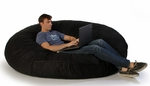 6 ft Cocoon Bean Bag - Black Microsuede [10887187-FS-STOP]