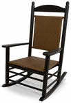POLYWOOD® Jefferson Woven Rocker - Black Frame / Tigerwood [K147FBLTW-FS-PD]