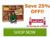 Save 25% off select Jonti-Craft Products!!