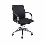 Josephina Office Chair - Chrome/Aluminum Finish and Black Upholstery [JP-164-CH-AL-979-FS-PSTL]