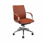 Josephina Office Chair - Chrome/Aluminum Finish and Brown Upholstery [JP-164-CH-AL-986-FS-PSTL]