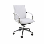 Josephina Office Chair - Chrome/Aluminum Finish and Ivory Upholstery [QLJP16477978-FS-PSTL]