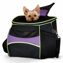 K&H Pet Products Comfy Go Back Park Carrier - Purple/Black/Lime Green - 15.35''L X 11.42''W X 13.98''H