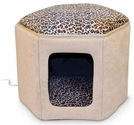K&H Pet Products Kitty Clubhouse - Tan and Leopard (unheated) - 17''L X 16''W X 13''H