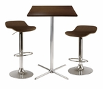 Kallie 3-Pc Square Pub Table with 2 Airlift Wood Seat Stools [93353-FS-WWT]