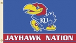 Kansas 'Jayhawk Nation' 3' X 5' Flag with Grommets [95214-FS-BSI]