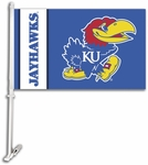 Kansas Jayhawks Car Flag with Wall Brackett [97014-FS-BSI]