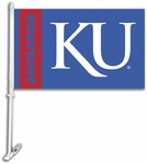 Kansas Jayhawks 'KU' Car Flag with Wall Brackett [97114-FS-BSI]