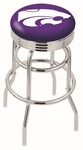 Kansas State University 25'' Chrome Finish Double Ring Swivel Backless Counter Height Stool with Ribbed Accent Ring [L7C3C25KNSASS-FS-HOB]