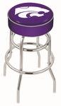 Kansas State University 25'' Chrome Finish Double Ring Swivel Backless Counter Height Stool with 4'' Thick Seat [L7C125KNSASS-FS-HOB]