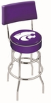 Kansas State University 25'' Chrome Finish Swivel Counter Height Stool with Double Ring Base [L7C425KNSASS-FS-HOB]