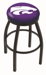 Kansas State University 25'' Black Wrinkle Finish Swivel Backless Counter Height Stool with Accent Ring [L8B2B25KNSASS-FS-HOB]