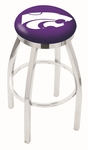 Kansas State University 25'' Chrome Finish Swivel Backless Counter Height Stool with Accent Ring [L8C2C25KNSASS-FS-HOB]