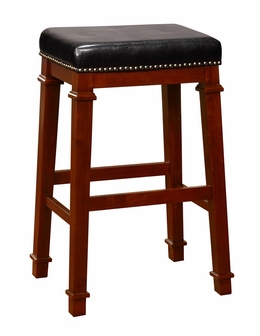 Kennedy 30 H Bar Stool With Black Faux Leather And Bronze