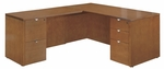 OSP Furniture Kenwood Hardwood Veneer 66'' L-Shaped Desk with Curved Metal Drawer Pulls [KENTYP9-FS-OS]
