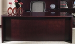 OSP Furniture Kenwood Hardwood Veneer 72'' Bow Top Desk with Curved Metal Drawer Pulls [KENTYP1-FS-OS]