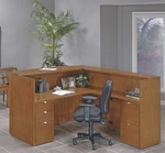 OSP Furniture Kenwood Hardwood Veneer 72'' Reception Station with Curved Metal Drawer Pulls [KENTYP19-FS-OS]