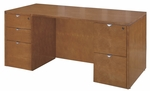 OSP Furniture Kenwood Hardwood Veneer Double Pedestal Desk with Curved Metal Drawer Pulls [KENTYP3-FS-OS]