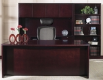 OSP Furniture Kenwood Hardwood Veneer Simple Executive Suite with Bookcase with Curved Metal Drawer Pulls [KENTYP11-KEN56-FS-OS]