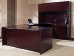 OSP Furniture Kenwood Hardwood Veneer Simple Executive U Suite with Curved Metal Drawer Pulls [KEN-SUITE2-FS-OS]