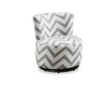 Kid's Size Fabric Swivel Accent Chair - Grey and White