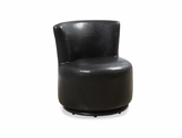 Kid's Size Faux Leather Swivel Accent Chair - Brown