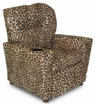 Kids Micro-Suede Theater Recliner with Cup Holder - Cheetah [DZD10886-FS-DD]