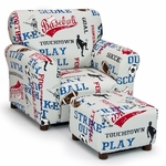 Kids All Sports - American Blue Club Chair and Ottoman Set [1960-1-SPORTS-FS-KW]