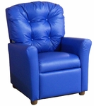 Kids Recliner with Button Tufted Back - Blue Vinyl [400-VINYL-BLUE-FS-BZ]