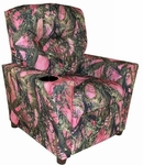 Kids True Timber Fabric Theater Recliner with Cup Holder - Camo Pink [DZD11820-FS-DD]