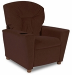 Kids Chocolate Micro Suede Recliner w/ Cup Holder [DZD13100-FS-DD]