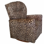 Kids Micro-Suede Contemporary Rocker Recliner with Tufted Back - Cheetah [DZD10893-FS-DD]
