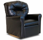 Kids Faux Leather Contemporary Rocker Recliner with Tufted Back - Black [DZD10739-FS-DD]