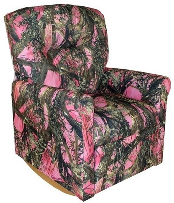Kids True Timber Fabric Contemporary Rocker Recliner With