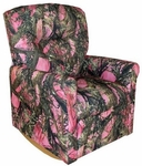Kids True Timber Fabric Contemporary Rocker Recliner with Tufted Back - Camo Pink [DZD11825-FS-DD]