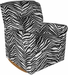 Kids Contemporary Upholstered Rocker Recliner with Tufted Back - Zebra [DZD12067-FS-DD]