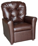 Kids Recliner with Button Tufted Back - Dempsey Chocolate [400-DEMSPEY-CHOCOLATE-FS-BZ]