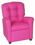 Kids Recliner with Button Tufted Back - Dottie Pink [400-DOTTIE-PINK-FS-BZ]