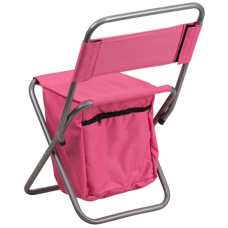 Folding Camping Chair with Insulated Storage in Pink TY1262 PK GG by Flash F