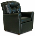Kids Faux Leather Recliner with Four Button Tufted Back - Black [DZD9974-FS-DD]