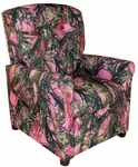 Kids True Timber Fabric Recliner with Four Button Tufted Back - Camo Pink [DZD11822-FS-DD]
